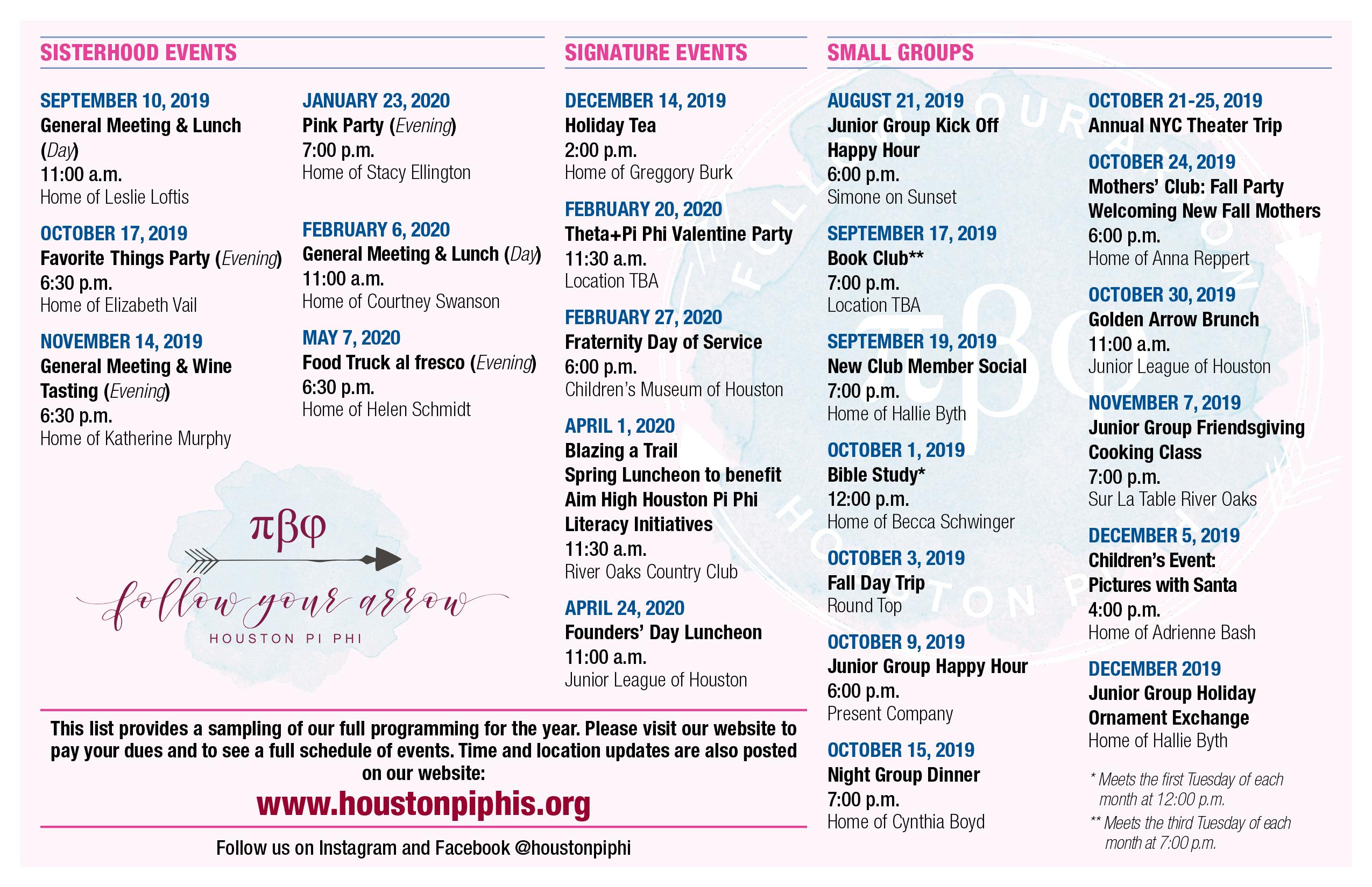 Houston Calendar Of Events August 2020.Pi Beta Phi Houston Alumnae Club Home